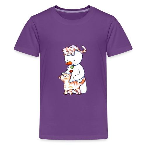Deux petits chats et Jou le bonhomme de neige - T-shirt Premium Ado