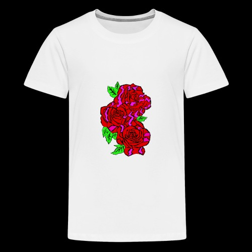 Roses with a kente design - Teenage Premium T-Shirt