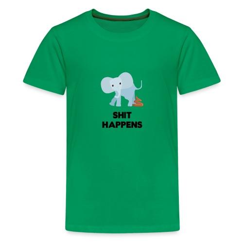 olifant met drol shit happens poep schaamte - Teenager Premium T-shirt