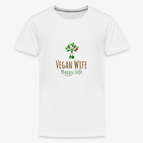 VEGAN WIFE Happy Life - T-shirt Premium Ado
