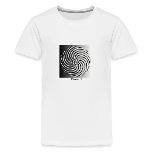 Fibonacci spiral pattern in black and white - Teenage Premium T-Shirt