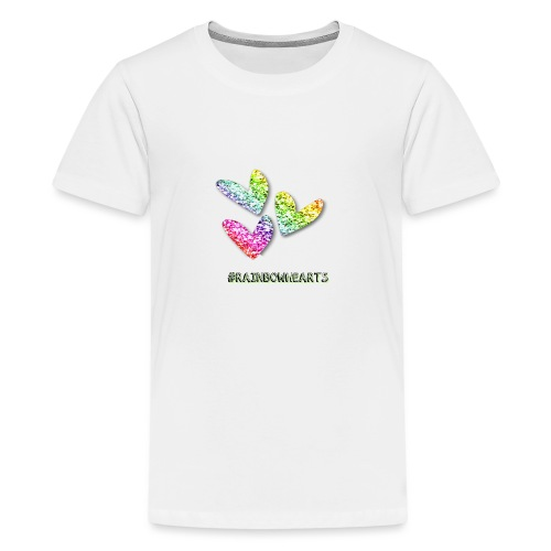 #RAINBOWHEARTS - Teenage Premium T-Shirt