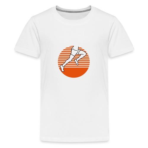 Läufer seitlich zweifärbig runner running - Teenager Premium T-Shirt