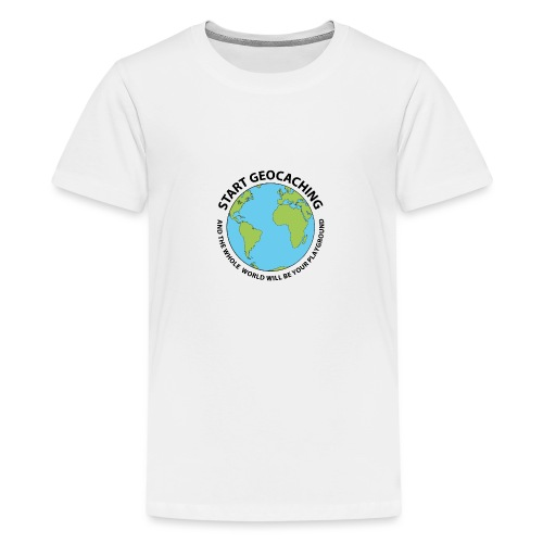 Start Geocaching - Teinien premium t-paita
