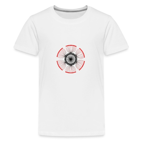 Red Poppy Seeds Mandala - Teenage Premium T-Shirt