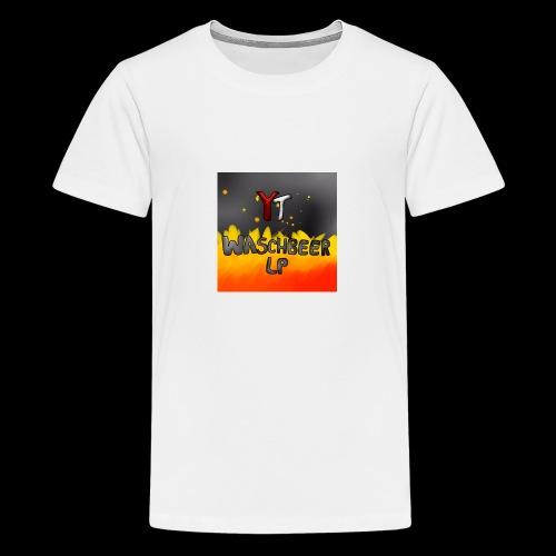 Waschbeer Design 2# Mit Flammen - Teenager Premium T-Shirt