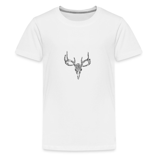 Deer skull with rose - Teinien premium t-paita