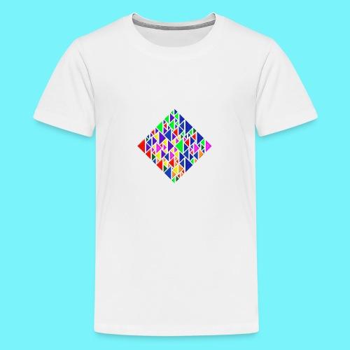 A square school of triangular coloured fish - Teenage Premium T-Shirt