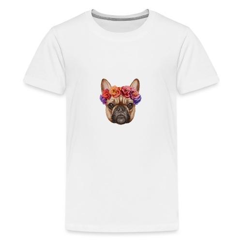 Buldog w Kwiatkach - Koszulka młodzieżowa Premium