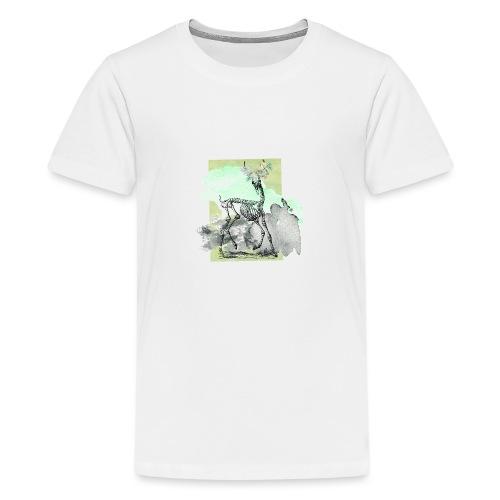 Flowery Deer Skeleton - Teenager Premium T-Shirt