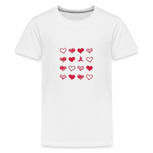15 Herzen und Tangram - Teenager Premium T-Shirt