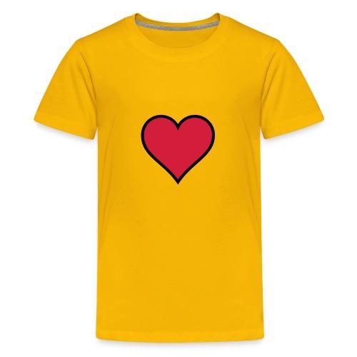 Outline Heart - Teenage Premium T-Shirt