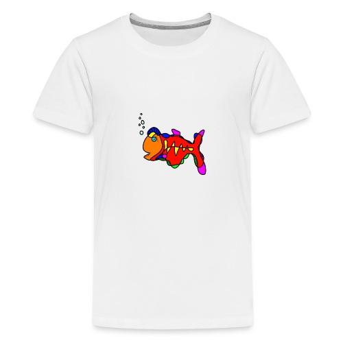 Tusche Fisch --- one line - Teenager Premium T-Shirt