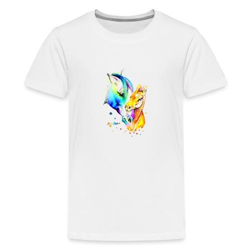 Jument et son poulain - T-shirt Premium Ado