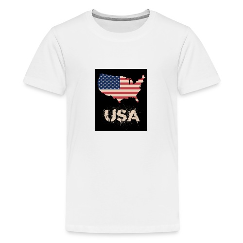 USA FLAG 4th of July With Flag - Premium-T-shirt tonåring