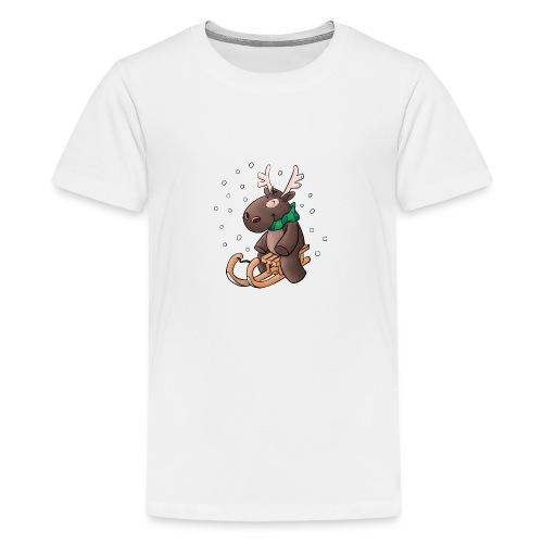 Elch - Kuschelelch mit Schlitten - Teenager Premium T-Shirt