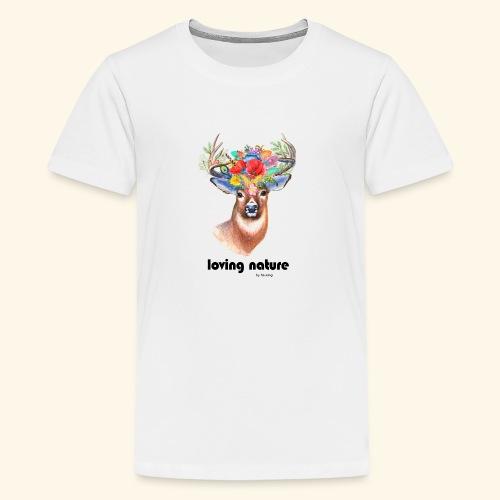 Ciervo con flores - Camiseta premium adolescente