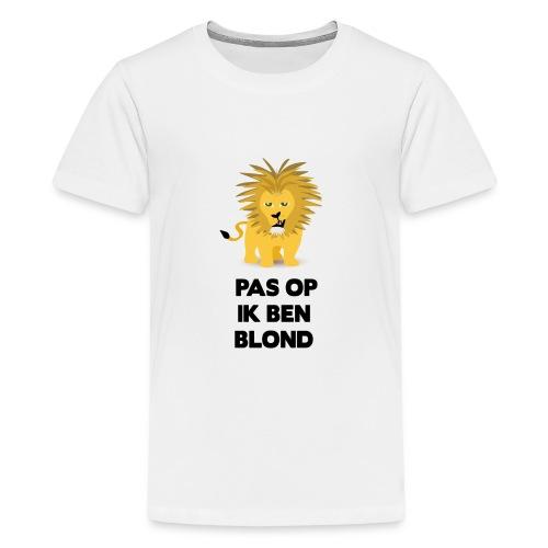 Pas op ik ben blond een cartoon van blonde leeuw - Teenager Premium T-shirt