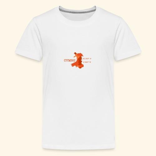 Cymru - Latitude / Longitude - Teenage Premium T-Shirt
