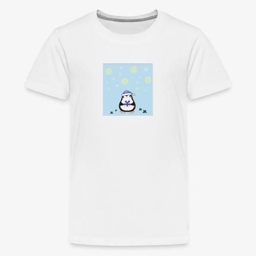 pingouin de Noel sur fond bleu - T-shirt Premium Ado