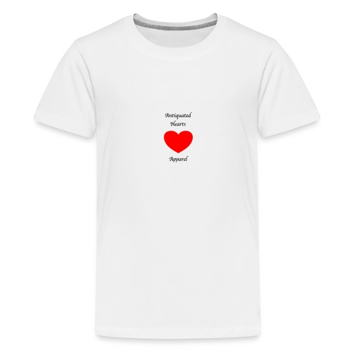 Antiquated Hearts Gothic Writing - Teenage Premium T-Shirt