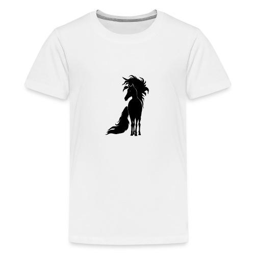 Pferd mit mähne schwarz - Teenager Premium T-Shirt