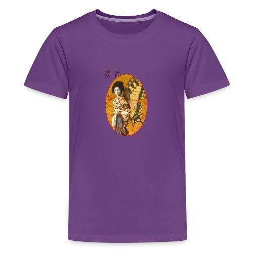 Vintage Japanese Geisha Oriental Design - Teenage Premium T-Shirt