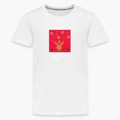 Santa Claus on a red background and snowflake - Teenage Premium T-Shirt
