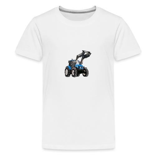 Blauer Traktor mit Frontlader - Teenager Premium T-Shirt