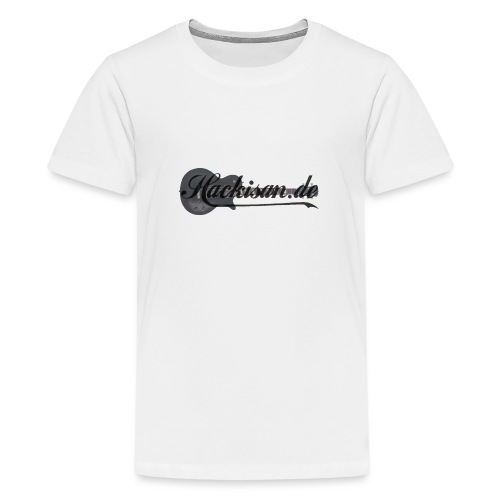 Tasse - schwarz - Hackisan-Logo vorne u. hinten - Teenager Premium T-Shirt
