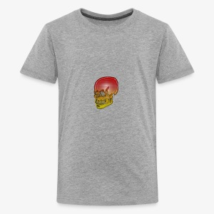 Silver red and yellow skull - Teenage Premium T-Shirt