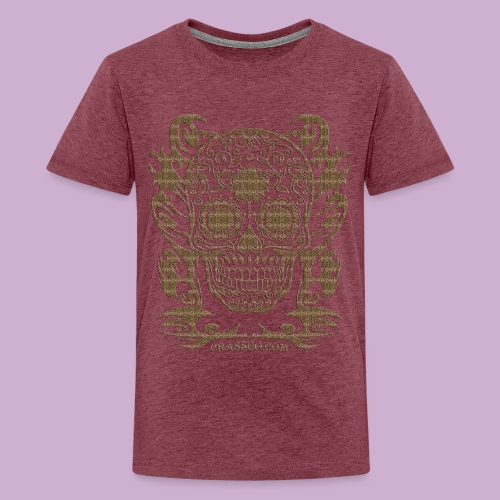 SKULL FLOWERS LEO - Teenager Premium T-Shirt