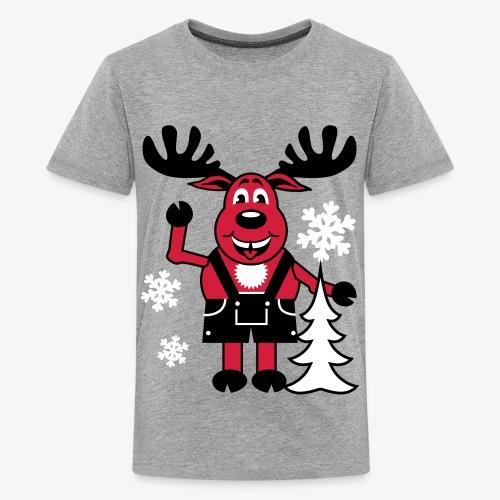 Hirsch Rudolph aus Bayern Lederhose Tannenbaum - Teenager Premium T-Shirt