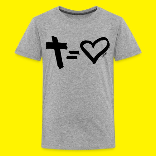 Cross = Heart BLACK - Teenage Premium T-Shirt