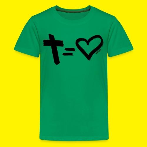 Cross = Heart BLACK - Teenage Premium T-Shirt