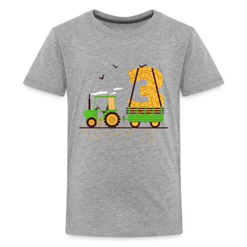 Traktor mit Anhänger 3. Geburtstag Geschenk Drei - Teenager Premium T-Shirt