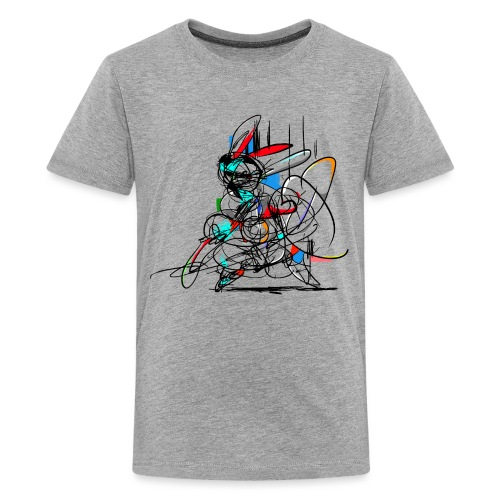 Ninja fighter Easter Bunny / Abstract - Teenage Premium T-Shirt