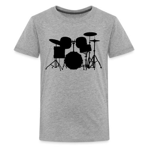 Drumset 1 Kontur schwarz - Teenager Premium T-Shirt