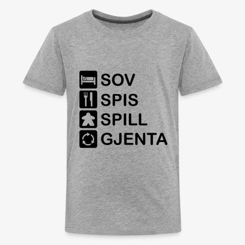 Sov, spis, spill og gjent - Premium T-skjorte for tenåringer