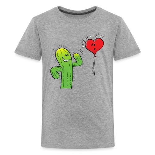 Cactus Flirting with a Heart Balloon - Teenage Premium T-Shirt