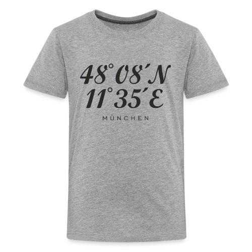 Münchener Koordinaten (Schwarz) München - Teenager Premium T-Shirt