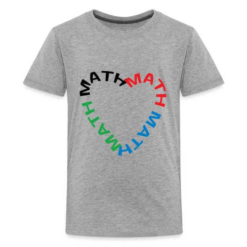 Math Text Heart - Teenage Premium T-Shirt