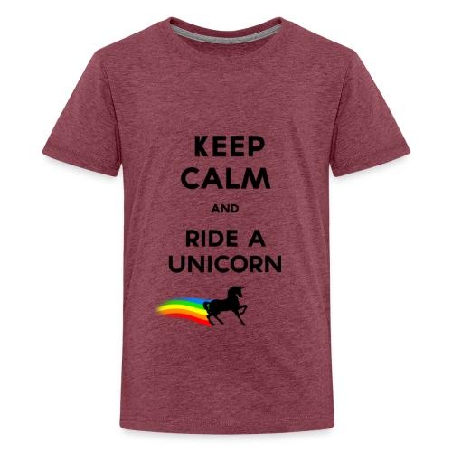 Keep calm and ride a unicorn Black png - T-shirt Premium Ado