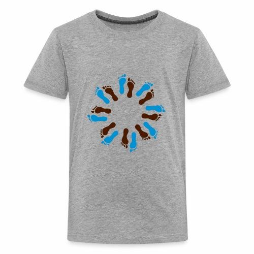 Barfuß-Kreis blau-braun - Teenager Premium T-Shirt