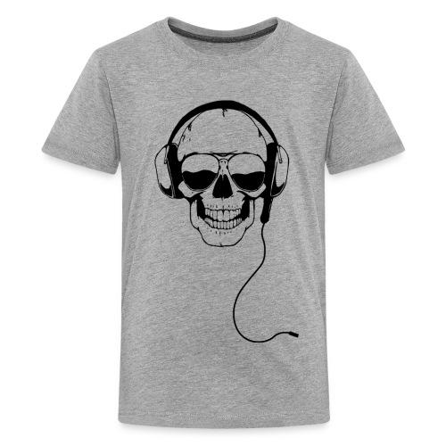 Nerdpappan Custom - Earphone Skull - Premium-T-shirt tonåring