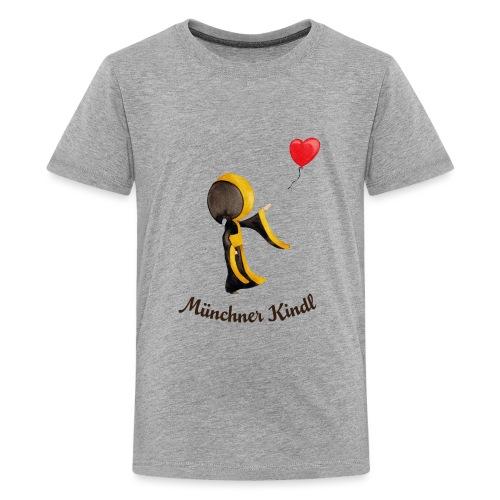 Münchner Kindl mit Herz-Luftballon und Text dunkel - Teenager Premium T-Shirt