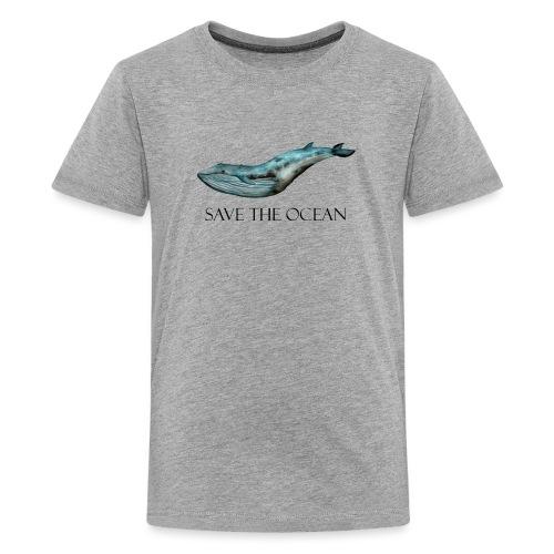 SAVE THE OCEAN ręcznie malowany wieloryb - Koszulka młodzieżowa Premium