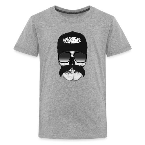 Skull Mustache California - Teenage Premium T-Shirt