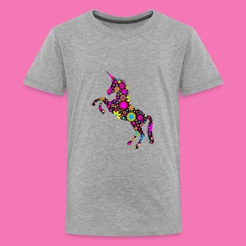 Floral Unicorn Silhouette - Teenager Premium T-Shirt