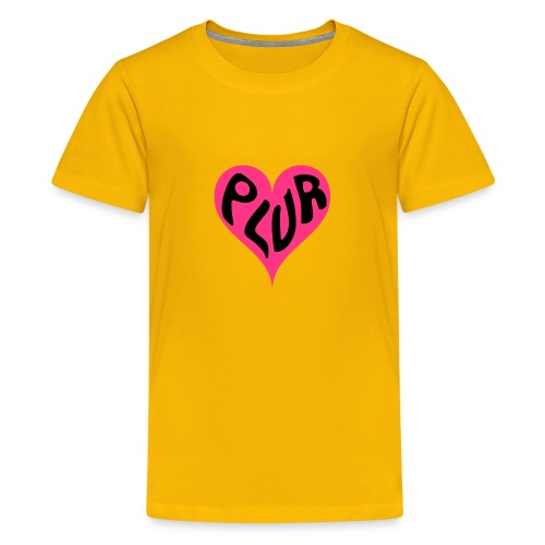 PLUR - Peace Love Unity and Respect love heart - Teenage Premium T-Shirt